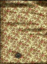 Nice Sm Floral Bouquet Print cream pink wine green on pale butter or ecru Fabric