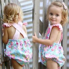 Infant Baby Girl Floral Unicorn Romper Bodysuit Jumpsuit Outfit Sunsuit Playsuit