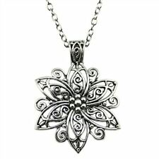 Women's Fashion Jewelry Long Dark Antique Silver Plated Flower Pendant Necklace