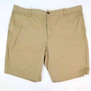 Dockers Flat Front Shorts Mens Size 42 Khaki Brown Tan 100% Cotton Classic SHARP