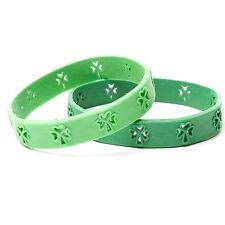 Lot of 2 St. Patrick's Day Cutout Shamrock Rubber Bracelets FREE SHIPPING!!