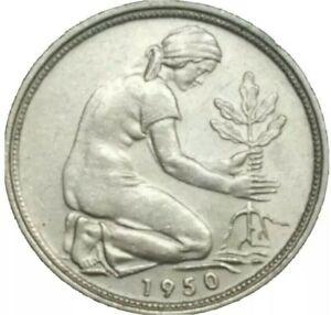 1950-D GERMANY FEDERAL REPUBLIC 50 Pfennig Copper-Nickel COIN DEUTSCH KM# 109.1