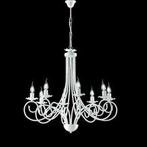 Hängender Kronleuchter Weiß Shabby Schmiedeeisen Kerzen 3 5 8 Lichter