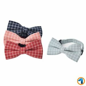 DOG CAT Bow Tie Adjustable Necktie Collar Bowknot Dot Check Small Pet Puppy