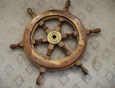 """26 - VINTAGE 20"""" SOLID WOOD NAUTICAL SHIP CAPTAINS WHEEL, Brass Center"""