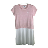 DKNY Girls Dress Short Sleeves Scoop Neck Pink White Pleated Dressy Kids Size XL