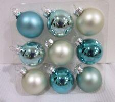 "Coastal Collection Christmas MINI Glass Ball Aqua Silver Ornaments 1.5"" Set of 9"