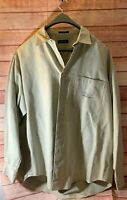 Nautica Denim Jeans Fly Fishing Trout Angler Graphic L/S Jacket Shirt Mens XL