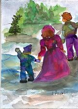 Christmas Tree Choices 5x7 Watercolor #Painting Art Winter Snow by Penny StewArt