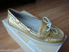NIB Women Michael Kors Blair Moc Metallic Leather Casual Flats Loafer GOLD 7.5