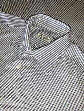 16 Borrelli Napoli Hand Made Blue Stripe Cotton Spread Collar Dress Shirt