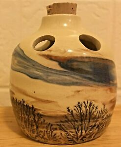 "Vintage Sevierville Pottery Tennessee Planter Vase Landscape Trees 4"" w/ Cork"