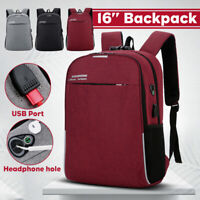 "16"" USB Port Men Women Backpack Laptop Notebook Anti-Theft Travel School Bag Hot"