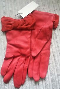 John Lewis Womens Gloves Red. Outer Leather 100%. Lining 100% Polyester