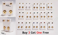 BRAND NEW UK EAR PIERCING BEZEL STUDS EARRINGS 3 MM CERTIFIED STERILE GOLD SILVE