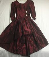 Vintage Hand Made Dress Theater Formal Costume Goth Burgundy