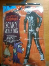 Halloween boys/girls scary skeleton Fancy Dress Costume Age 9-10