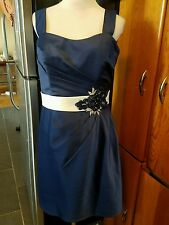 Allure Bridals bridesmaid dress inch strap knee length size 14 Navy style 1329