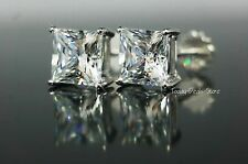 Screw Back Solid 14k Real White Gold Stud Earrings 3.5ct Princess Cut Huge