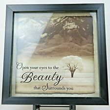"New View Shadowbox Wall Art 'Beauty' With Inspirational Saying/ Quote 10"" Square"