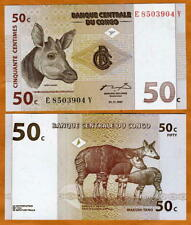 Congo D. R. 50 centimes, 1997, Pick 84A UNC > Okapi