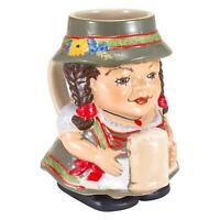 Oktoberfest Beer Stein - Ceramic Dirndl German Beer Maid Mug, Holds 24 Ounces