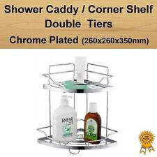 Chrome Plated Steel Double Tiers Shower Caddy Organizer Corner Rack Shelf Basket