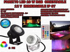 2 FARETTI LED 10 W RGB IMMERGIBILI 12V TELECOMANDO TRASFORMATORE IP 67 SUBACQUEI