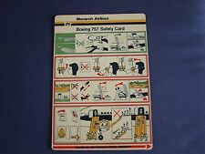 Monarch Airlines Boeing 757 Safety Card 1980's/90's