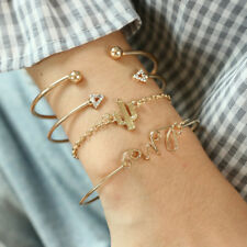 New 4PCS/Set Ladies Gold Triangle Knot Love Cactus Opening Bangle Chain Bracelet