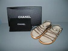 NEW CHANEL DESIGNER BEIGE SATIN GOLD CHAIN LINK GLADIATOR FLAT SANDALS 40