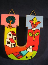 La Palma Folk Art from El Salvador LetterU Handcrafted from Recycled Wood
