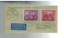 1950 Leipzig Fair East Germany DDR First day Cover Flight to Moscow # B15-B16