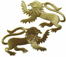 "#2526 2-3/4"" Left,Right Gold Lion/pair Embroidery Applique Patch"
