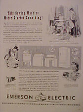 1943 Emerson Electric Motor Fans~Home Office Appliances Household War Print Ad