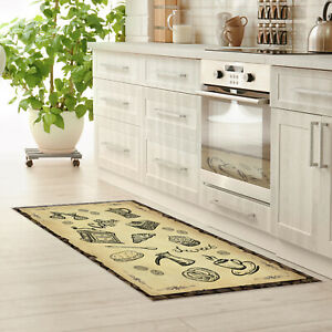 Food Printed Dinning Room Kitchen Carpet Faux-Leather Padded CNK2124