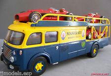 OLD CARS FIAT 642R TRANSPORT TRUCK+BRUMM MASERATI+IXO MASERATI+BRUMM FERRARI P4