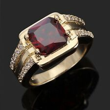 Classic Jewelry Size 11 Halo Garnet 18K Gold Filled Anniversary Rings For Mens