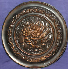 Vintage hand made ornate floral copper wall hanging plaque