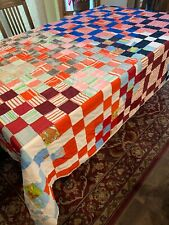 Old Handmade Patchwork Double Blanket Afghan Quilt Crazy Multi Material Color
