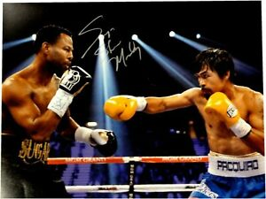 Sugar Shane Mosley Signed Autograph 16x20 Photo VS Manny Pacquiao Punch Low Silv