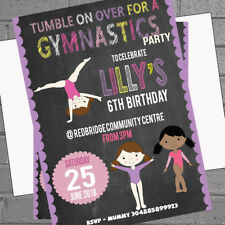 Childrens Kids Birthday Party Invitations x 12 +env Blackboard Gymnastics H1681