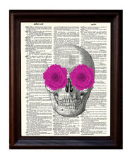 Skull with Pink Flowers - Dictionary Art Print Printed On Authentic Vintage