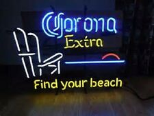 """New Corona Extra Find Your Beach Pub Bar Neon Sign 24""""x24"""" BE236L Larger Size"""