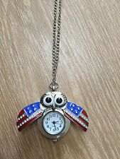 Flag Owl Clock Necklace Pocket Watch Pendant Fashion Clock Accessory