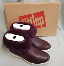 Fitflop Skatebootie Leather Shearling Deep Plum Purple Ankle Boots Ladies Size 4
