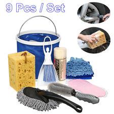9 Pcs Set Car Washing Tool Vehicle Wash Tire Rim Cleaner Sponge Towel Brush Kit