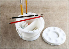 White Watercolor Oil Face Art Palette Paint Brush Cleaner Tub