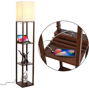 Brightech Maxwell Standing Tower Floor Lamp with Shelves and USB Port, Brown