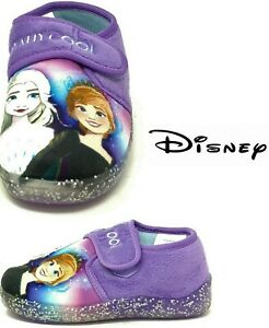 GIRLS FROZEN SLIPPERS ANNA ELSA PURPLE TOUCH FASTENING HOUSE SHOES SIZE 5 - 10